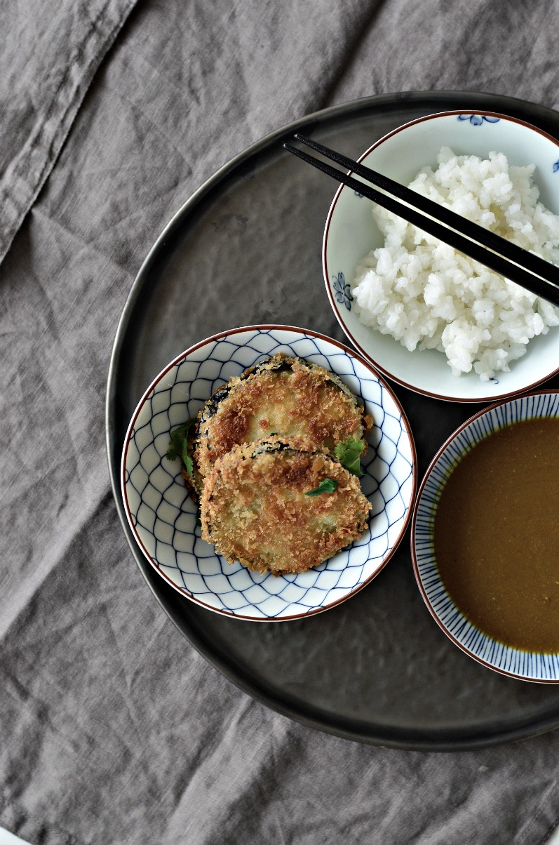 A crispy, golden aubergine katsu curry recipe. A delicious and easy veggie alternative to chicken or pork katsu.