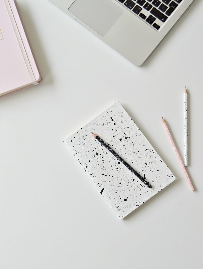 DIY paint splatter notebook covers and pencils