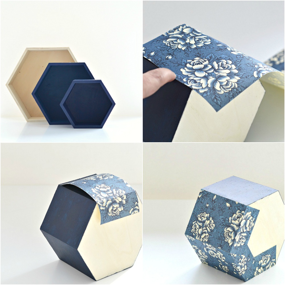how to cover a wooden box with paper