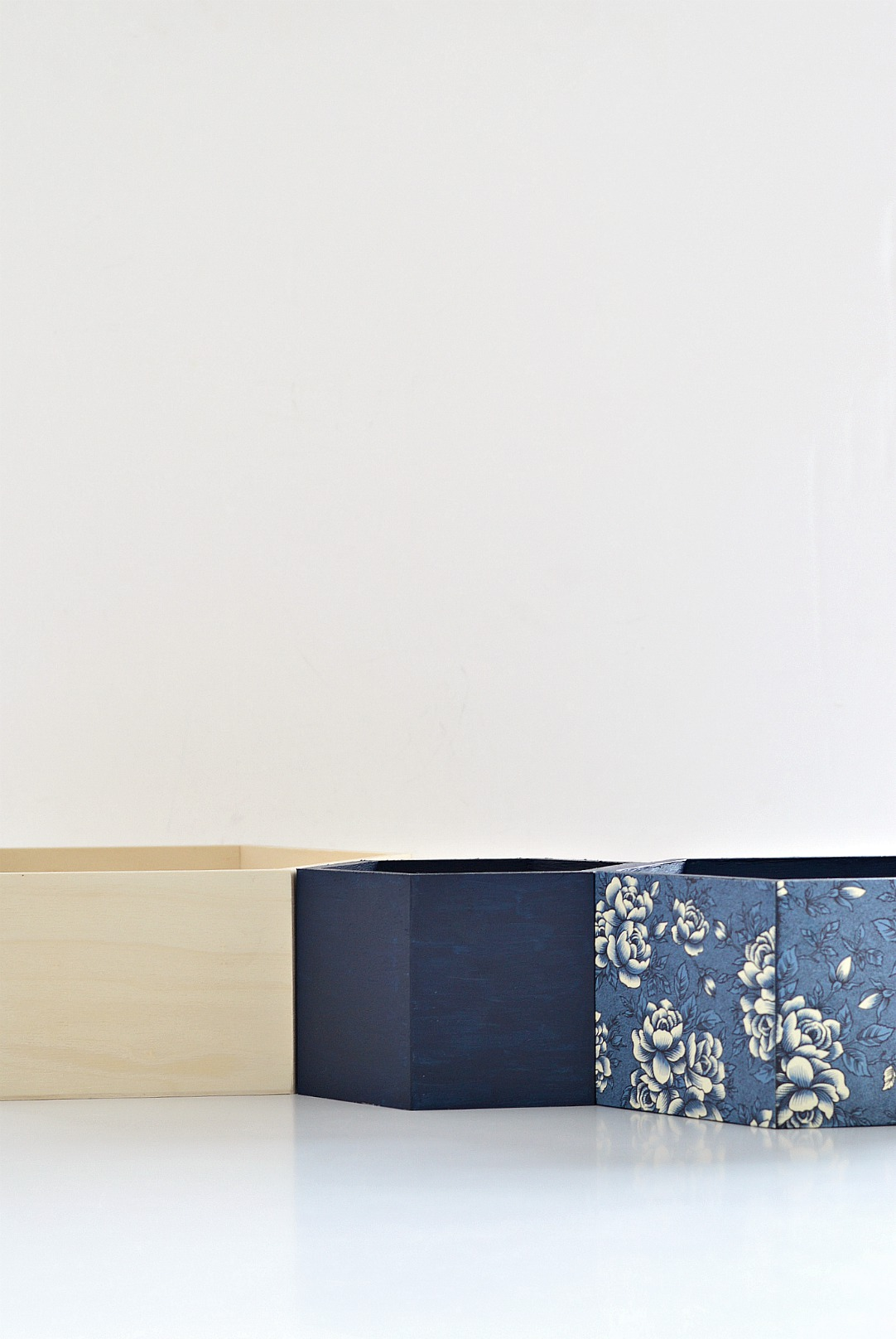 how to cover wooden boxes with wrapping paper