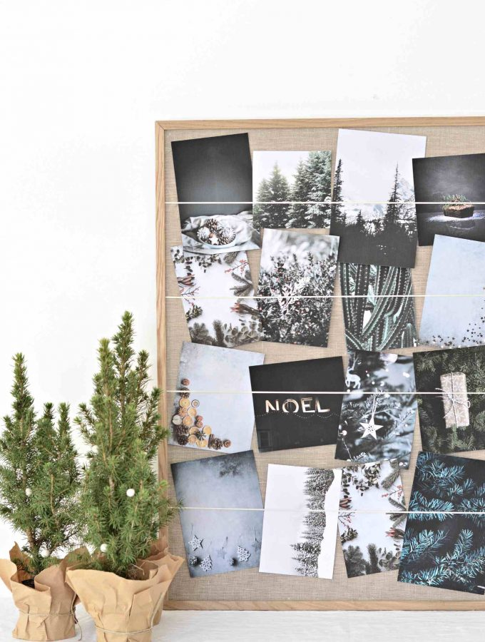 Turn an old picture frame in to a diy Christmas card holder