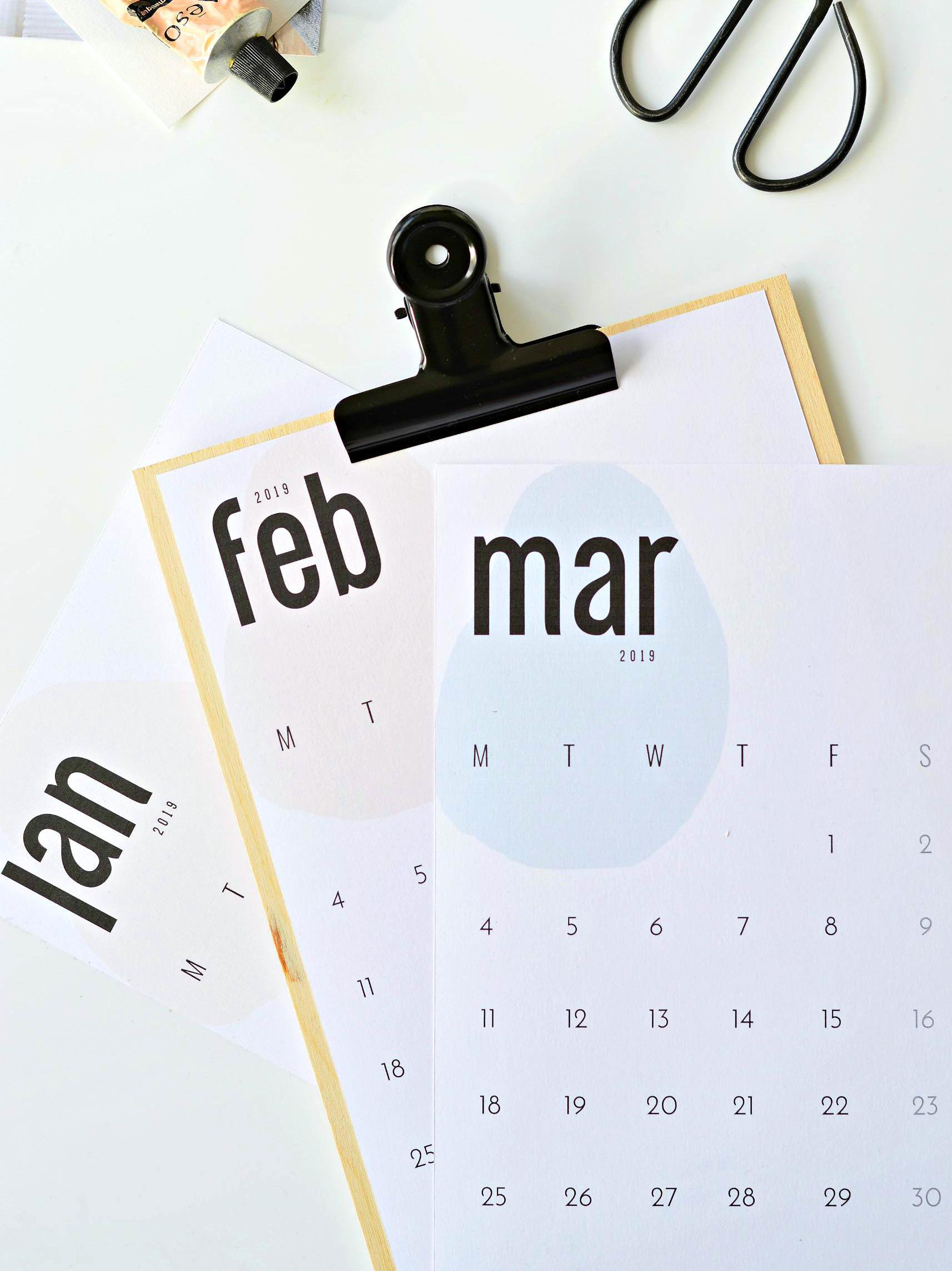 printable monthly calendar 2019