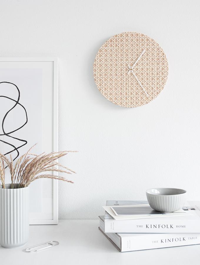 DIY wall clock with rattan