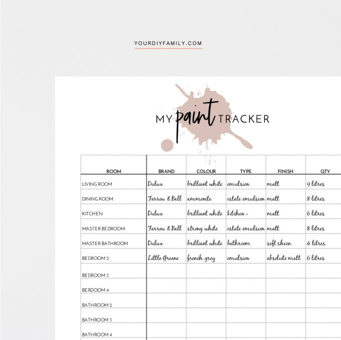 paint colour tracking sheet