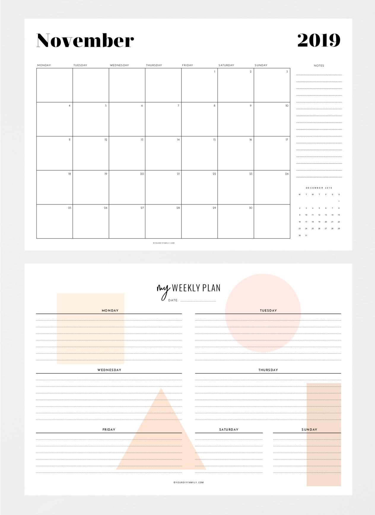 monthly calendar weekly planner printable