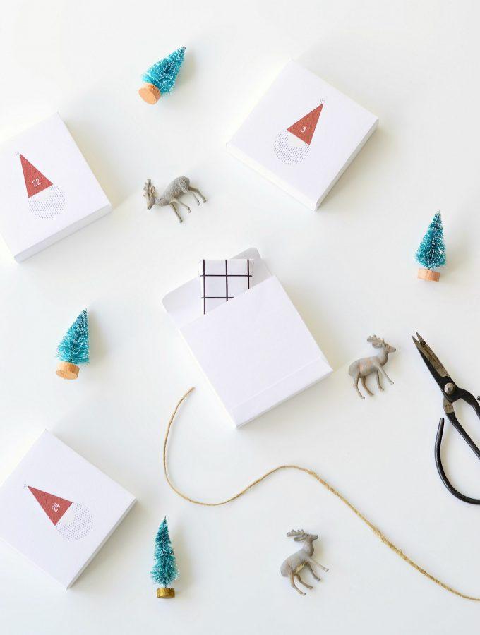 The cutest santa printable advent calendar boxes