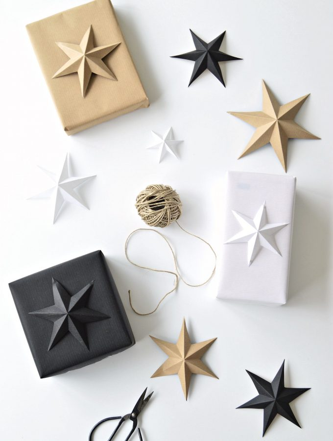 It's a wrap! Minimalist star gift wrapping idea for Christmas