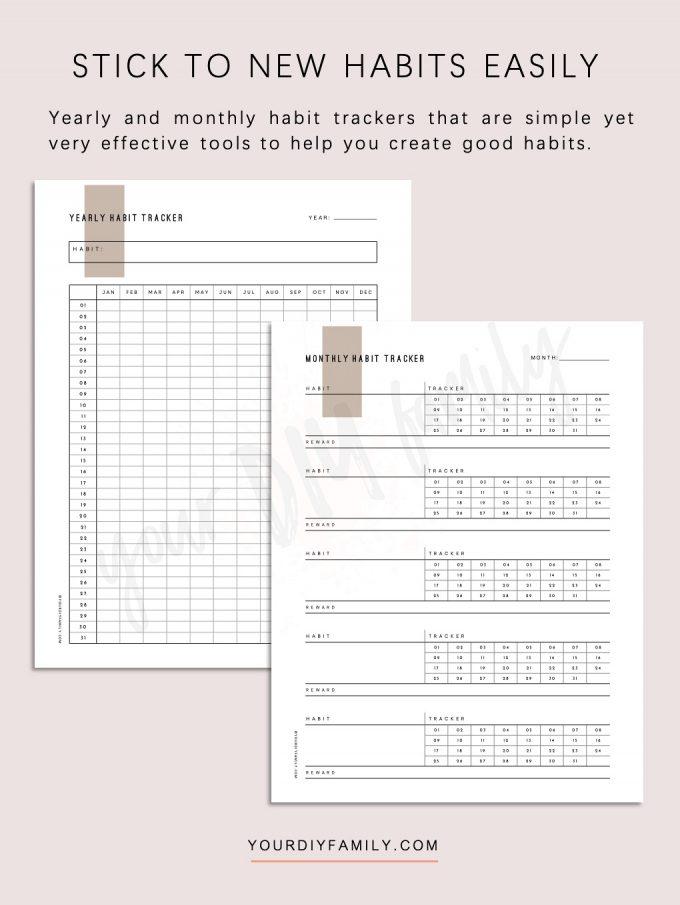 minimalist habit tracker printable pdf