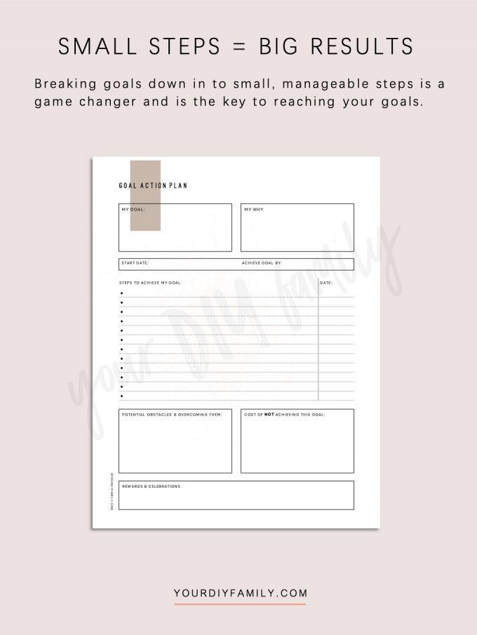breaking down goals worksheet pdf