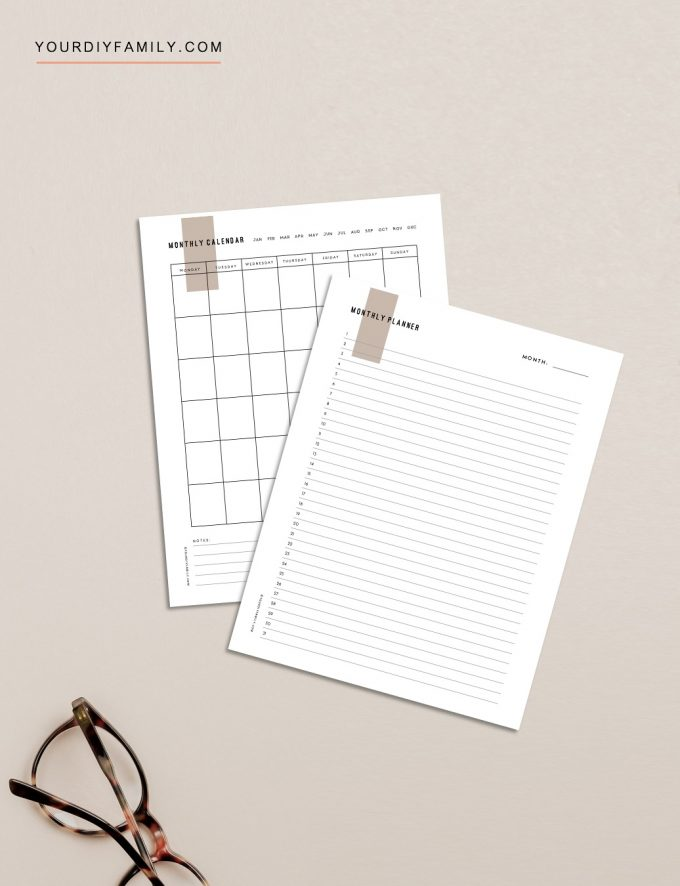minimalist monthly planner printable