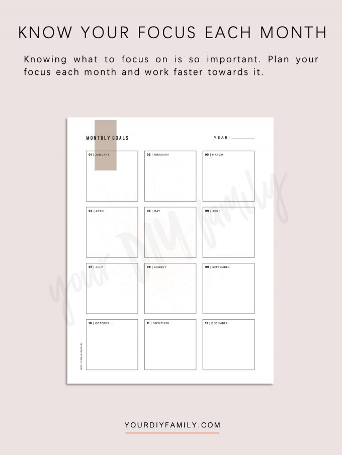 monthly goal planner printable