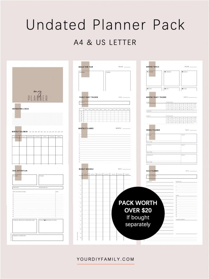 undated planner printable PDF