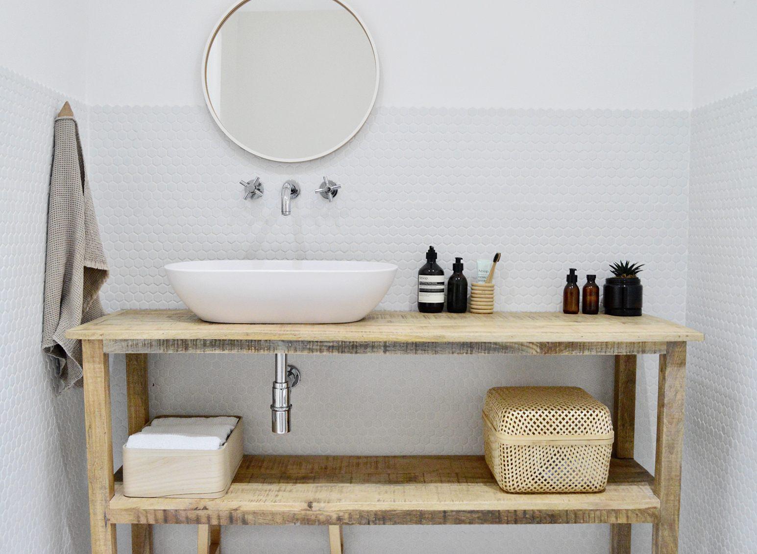 minimalist white wood bathroom