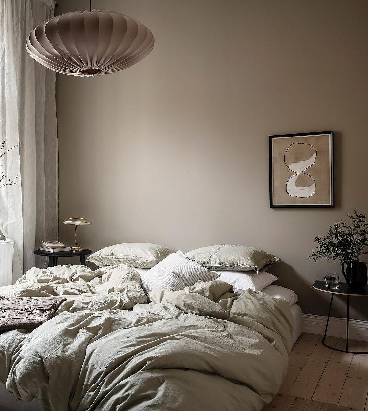 beige Scandinavian bedroom