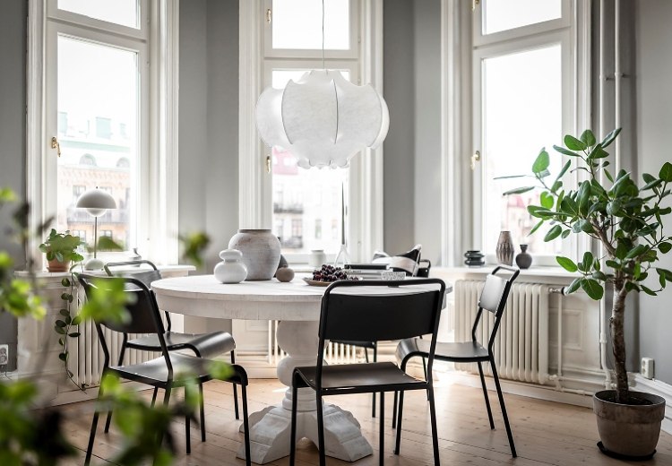 grey and white dining room scandinavian