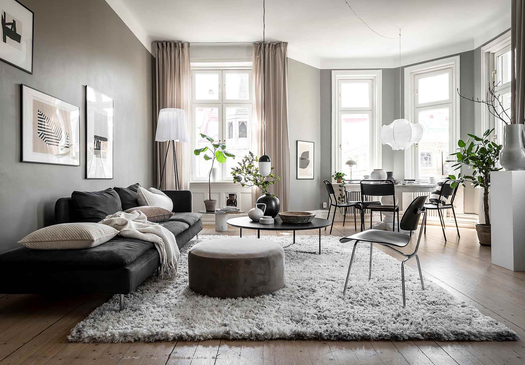 mix grey and beige in a room