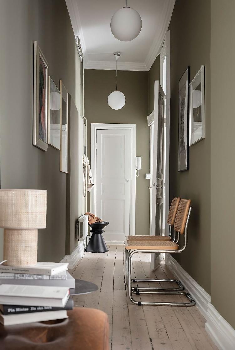 olive green entryway
