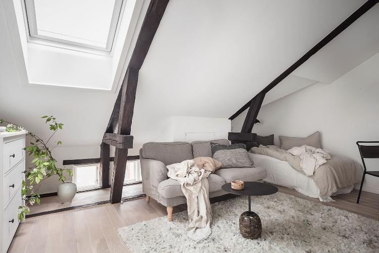small loft bedroom neutral deocr
