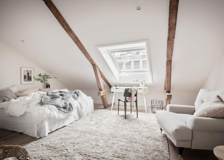 warm white Scandinavian bedroom