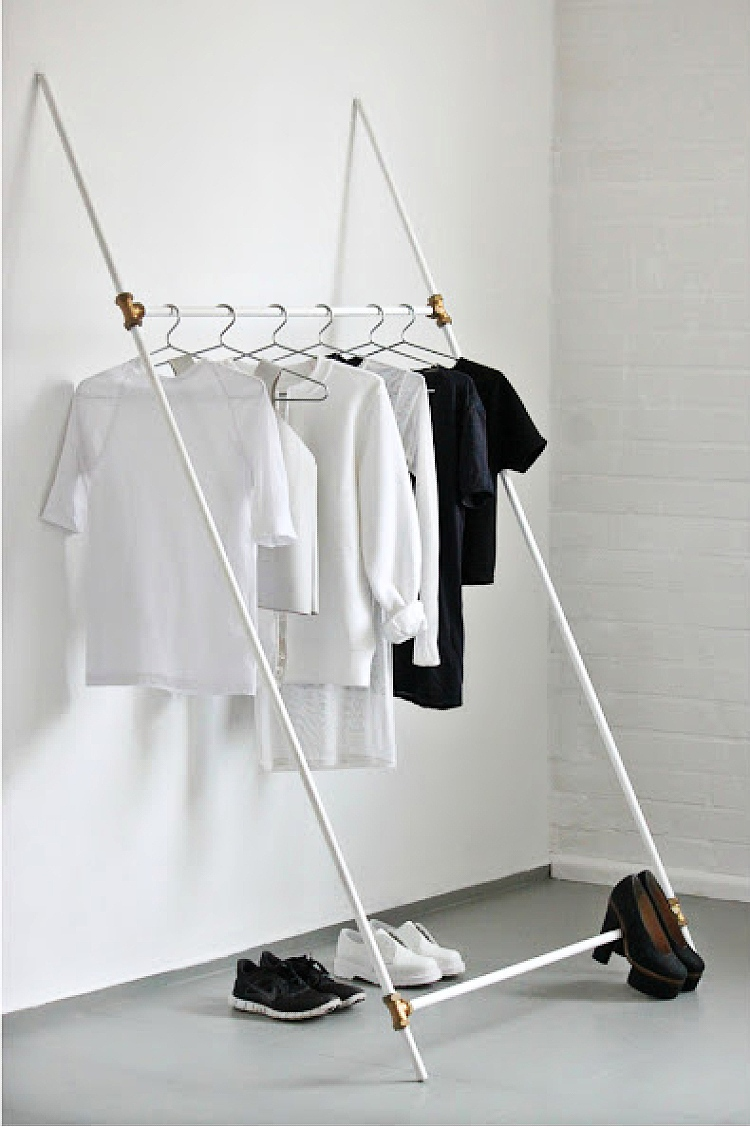 DIY leaning clothing rail