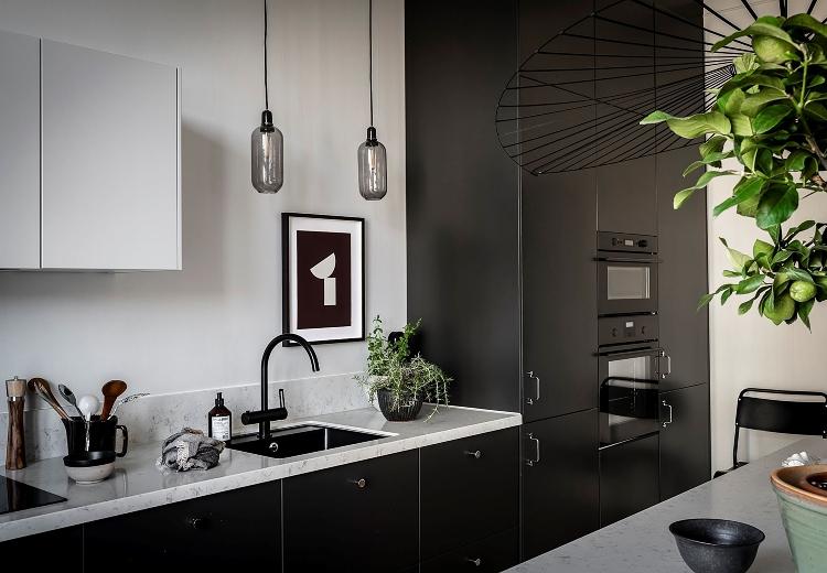 modern black Scandinavian kitchen