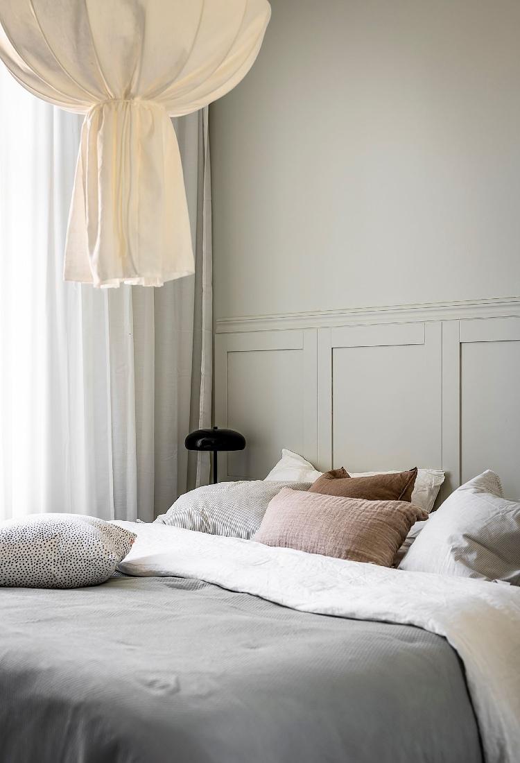 small grey Scandinavian bedroom