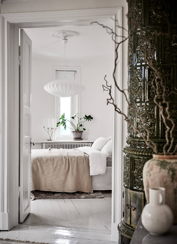 white bedroom with beige