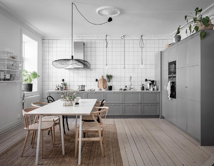 grey Scandinavian style kitchen
