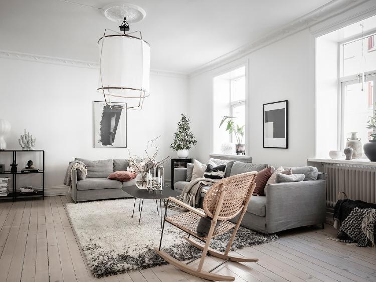 grey and white Scandi living room