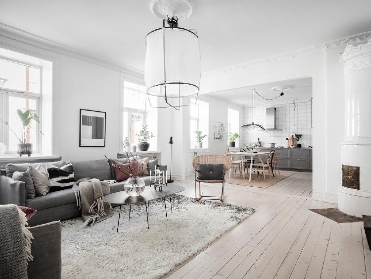 open plan living room Scandinavian