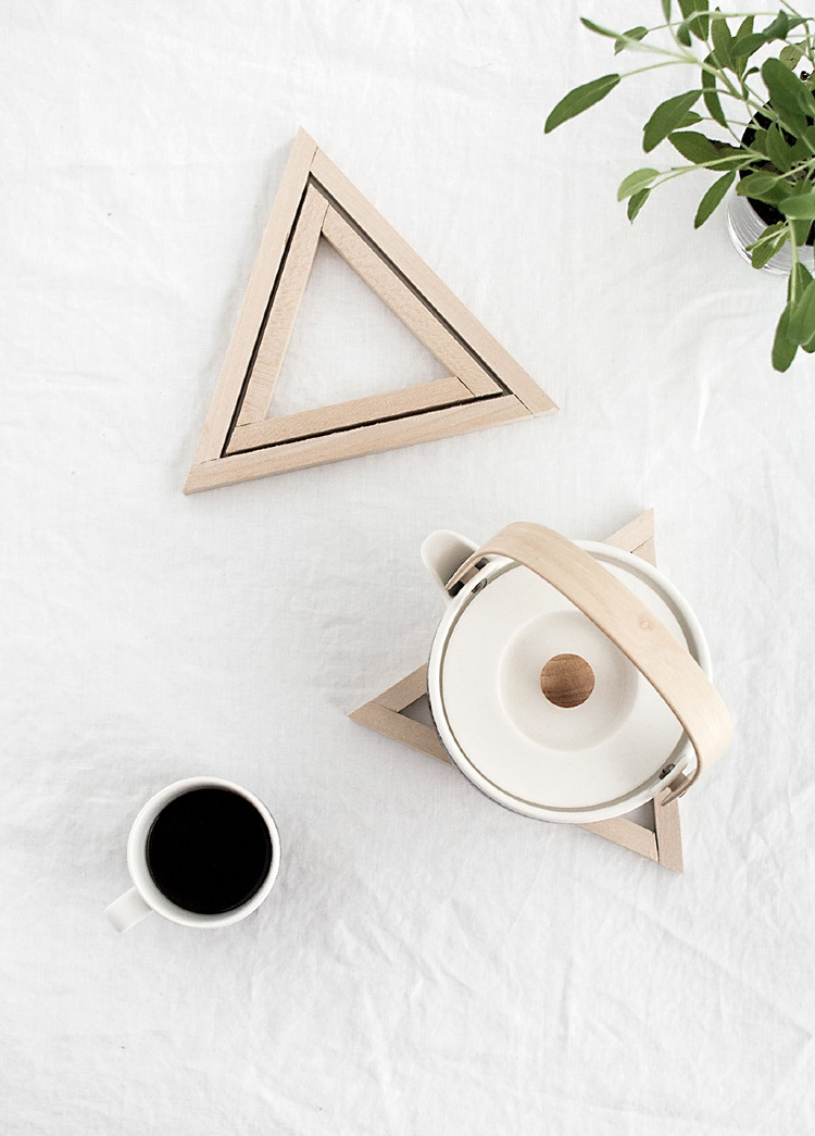 DIY wooden triangle trivets