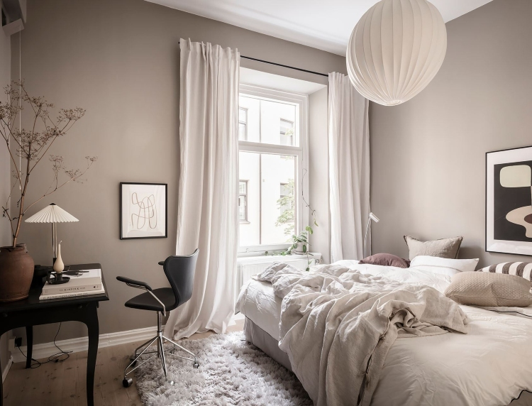 cosy beige bedroom Scandinavian