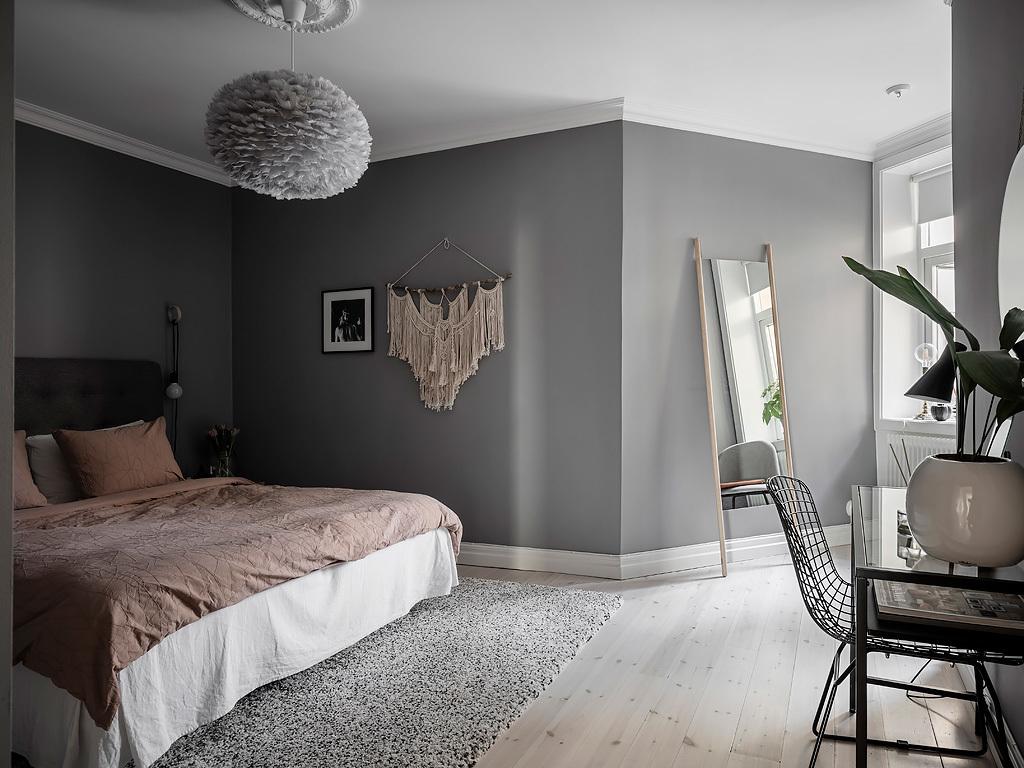 grey bedroom Scandinavian