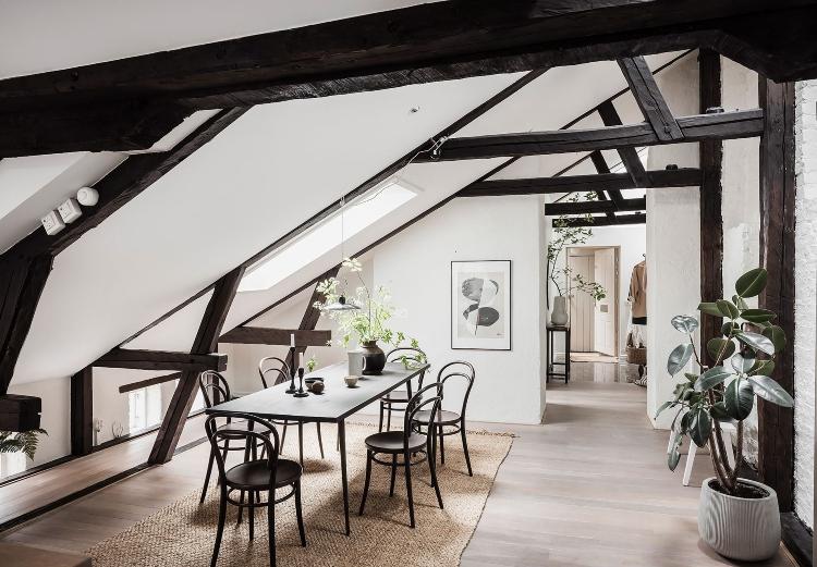 loft apartment with beams Scandinavian