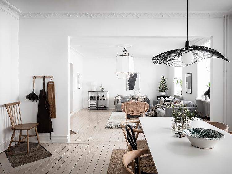 open plan Scandinavian apartment