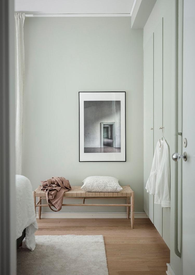 pale green bedroom scandinavian
