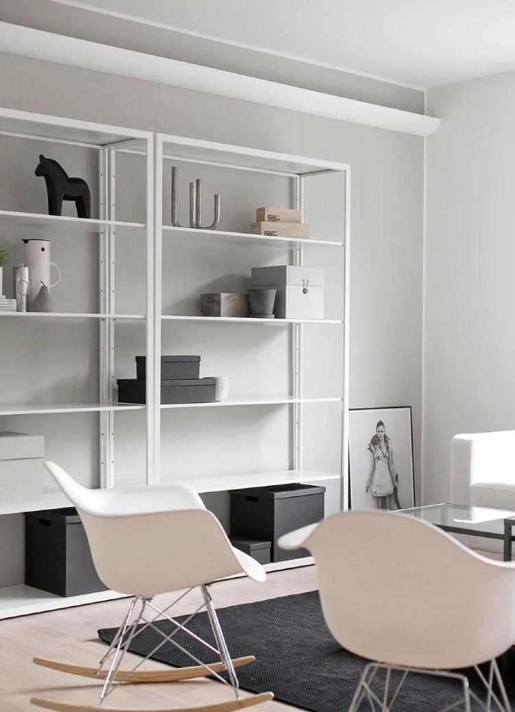 white Ikea shelving unit minimalist