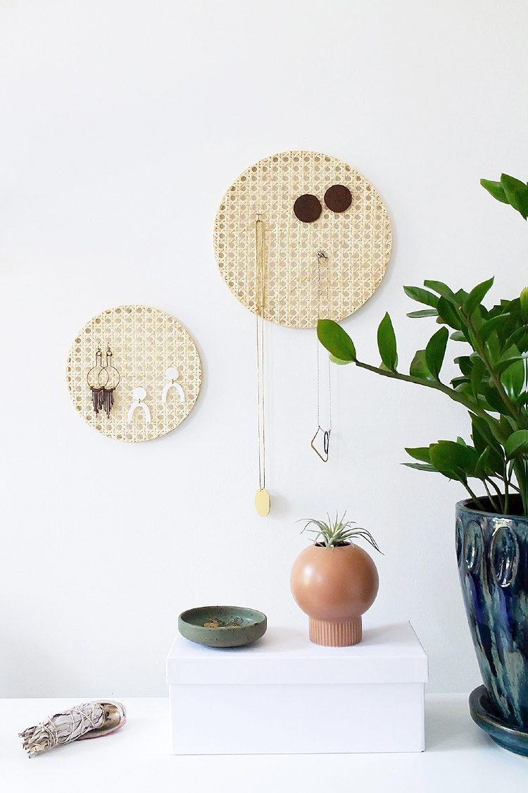 DIY jewellery organisers rattan