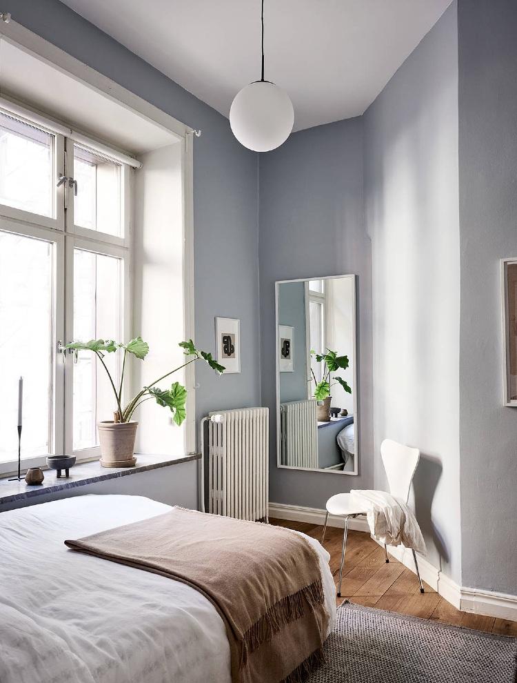 neutral blue bedroom Scandinavian
