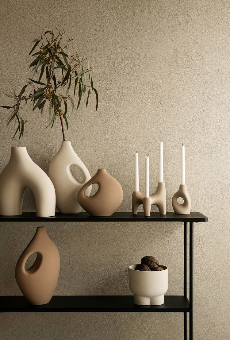 sculptural stoneware vases